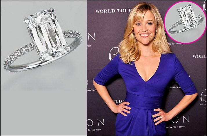 A close look at Reece Witherspoon's incredible Crisscut inspired engagement ring