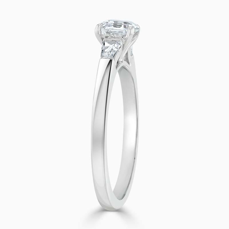 18ct White Gold Asscher Cut 3 Stone with Tapers Engagement Ring