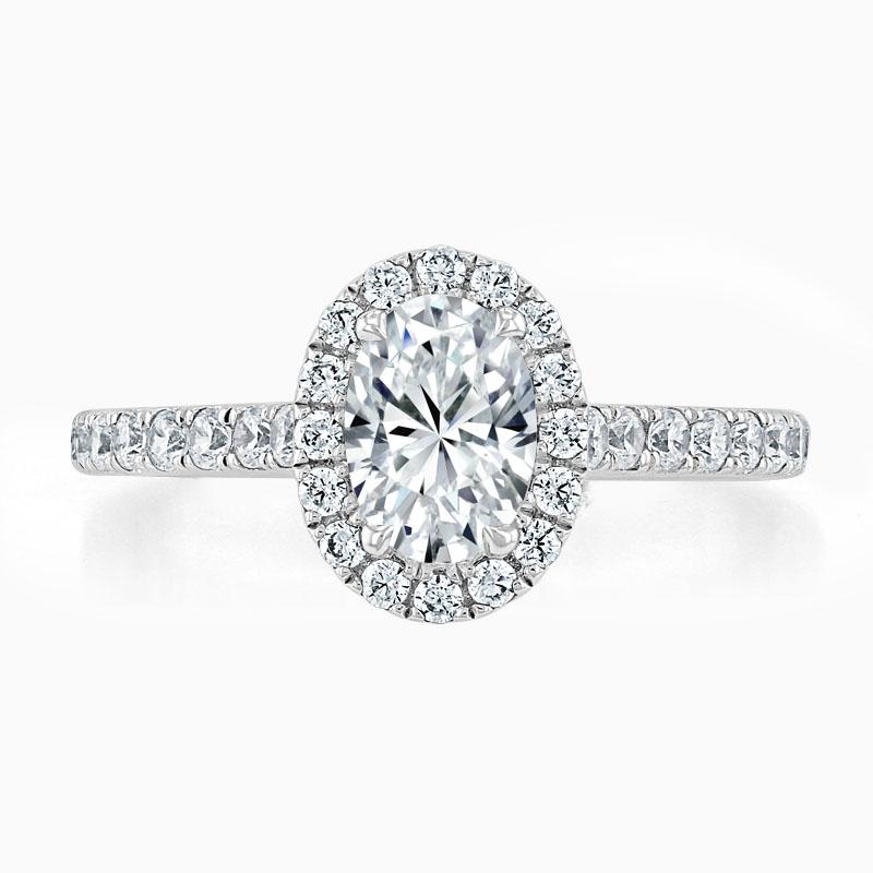 Platinum Oval Shape Classic Wedfit Halo Engagement Ring