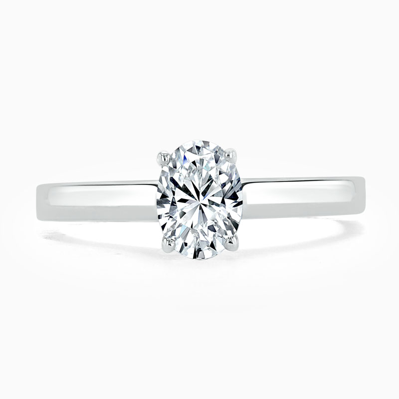Platinum Oval Shape Openset Engagement Ring
