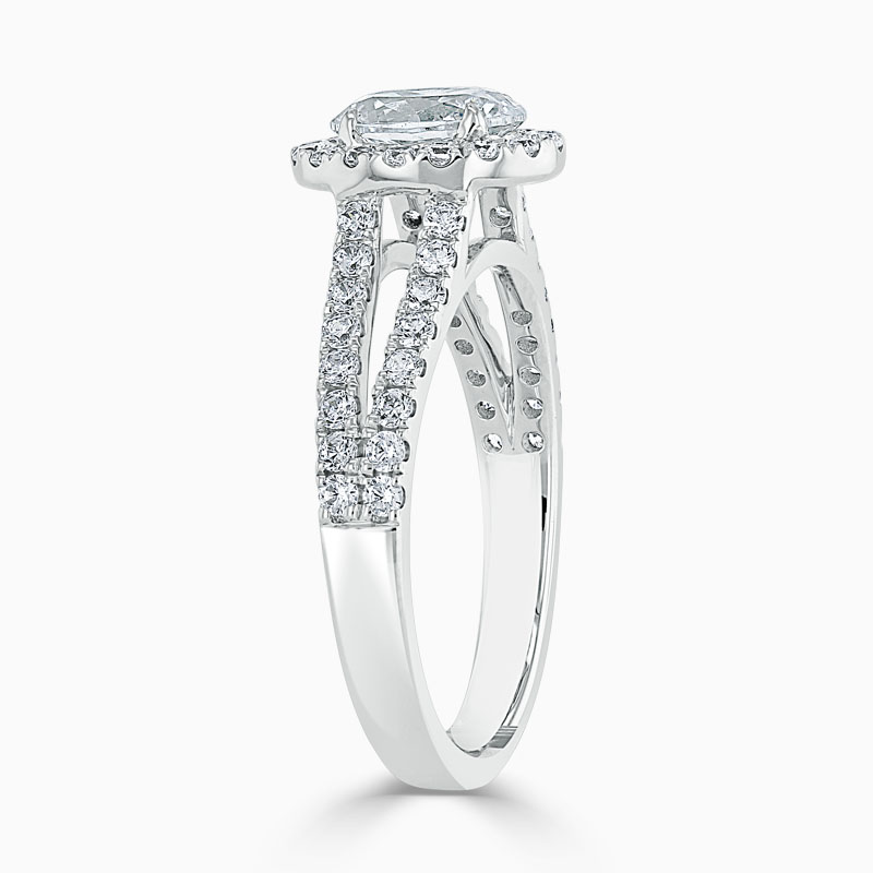 Platinum Oval Shape Split Shoulder Halo Engagement Ring