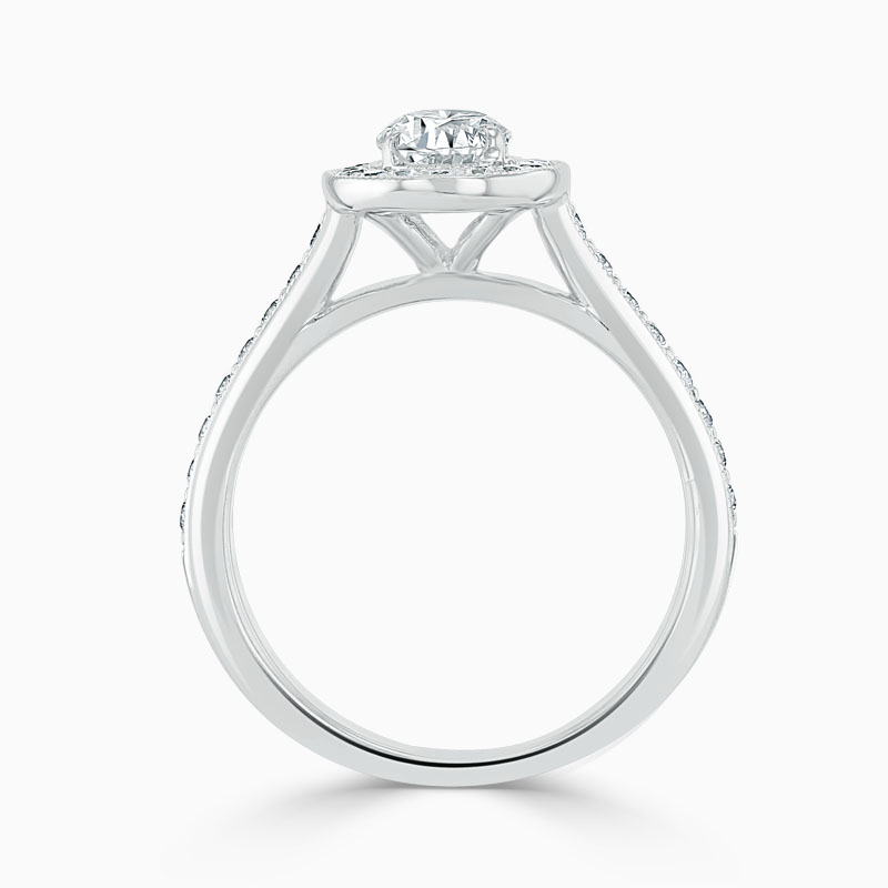 Platinum Oval Shape Vintage Pavé Halo Engagement Ring