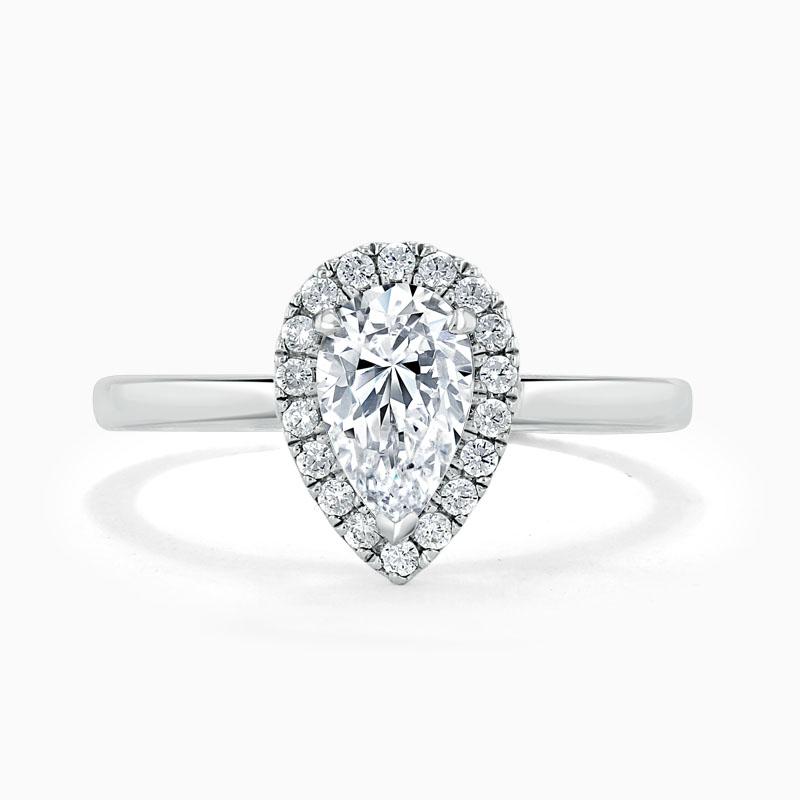 Platinum Pear Shape Classic Plain Halo Engagement Ring