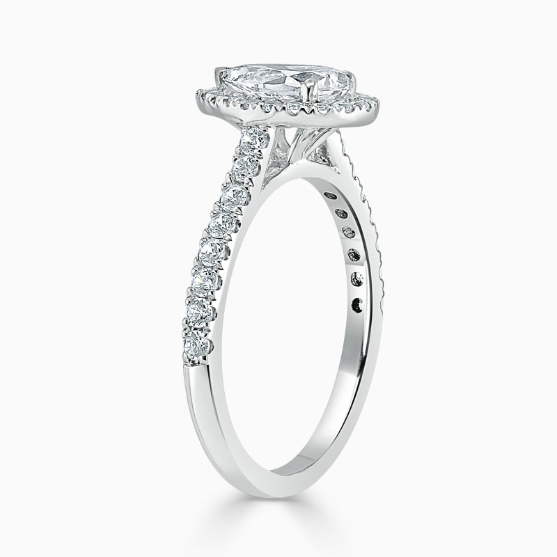 18ct White Gold Pear Shape Classic Wedfit Halo Engagement Ring