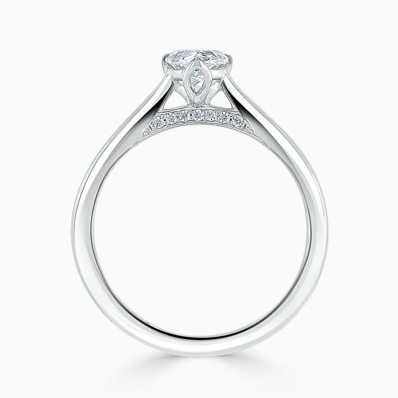 18ct White Gold Pear Shape Diamond Set Lotus Engagement Ring