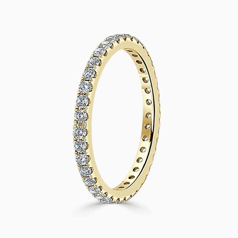 18ct Yellow Gold 2.00mm Round Brilliant Cutdown Set Full Eternity Ring
