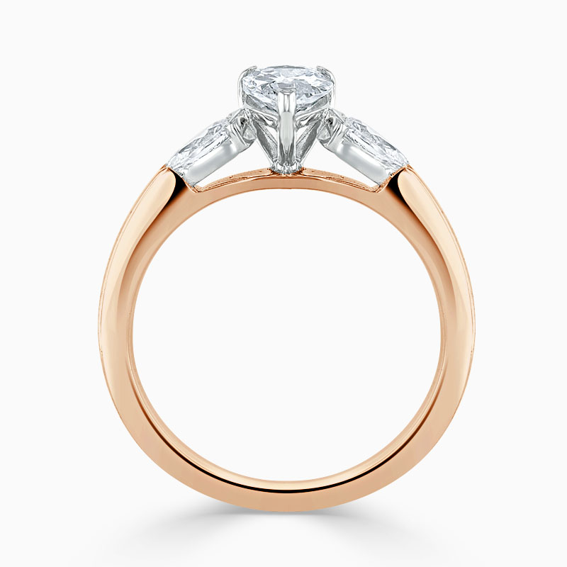 18ct Rose Gold Pear Shape 3 Stone with Pears Engagement Ring
