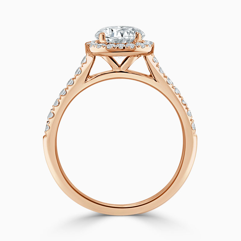 18ct Rose Gold Pear Shape Classic Wedfit Halo Engagement Ring