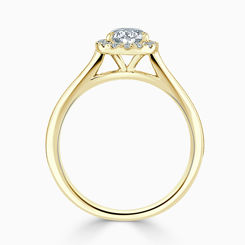 18ct Yellow Gold Pear Shape Classic Plain Halo Engagement Ring
