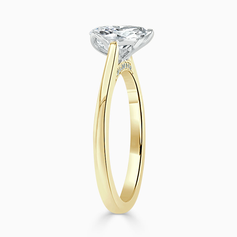 18ct Yellow Gold Pear Shape Diamond Set Lotus Engagement Ring