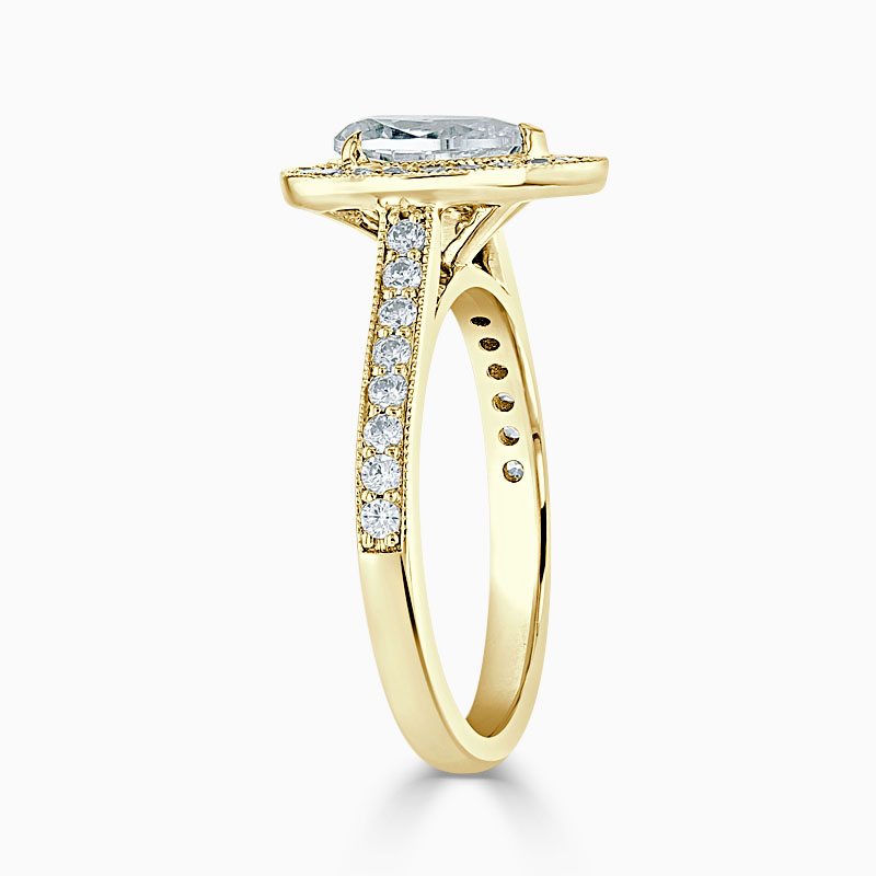 18ct Yellow Gold Pear Shape Vintage Pavé Halo Engagement Ring