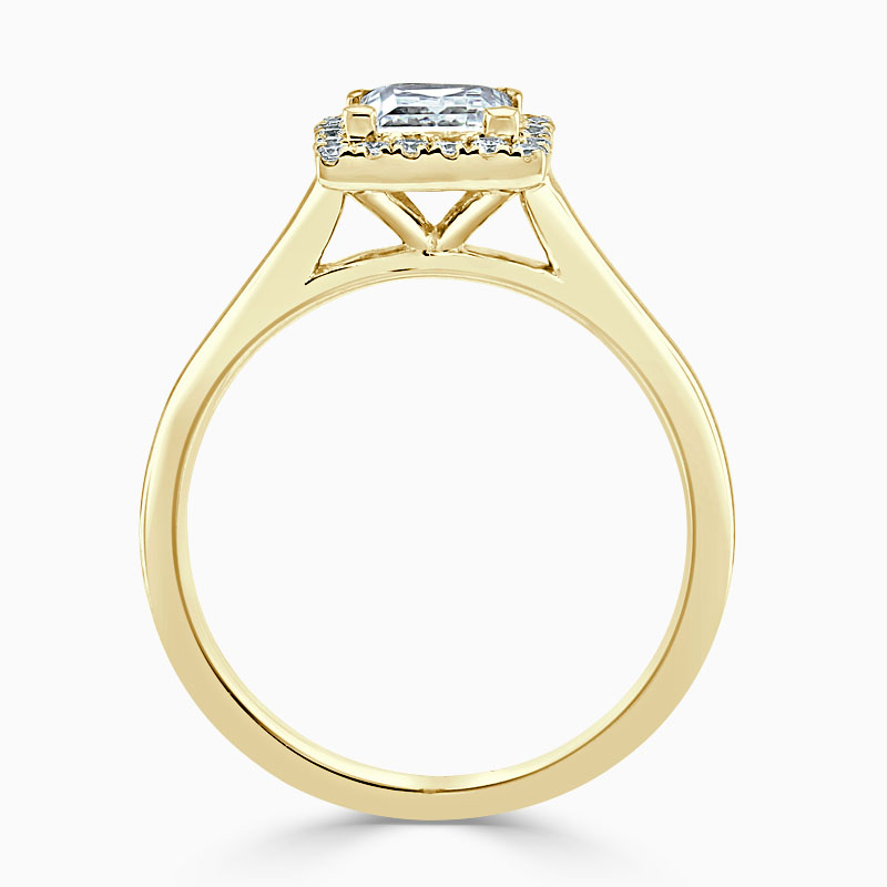 18ct Yellow Gold Princess Cut Classic Plain Halo Engagement Ring