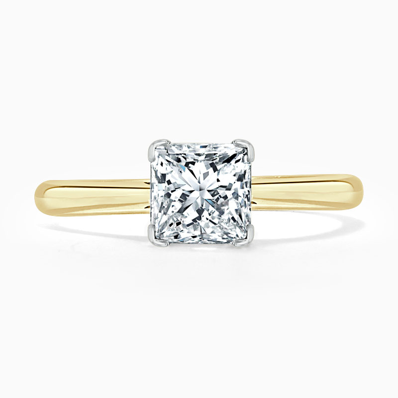 18ct Yellow Gold Princess Cut Classic Wedfit Engagement Ring