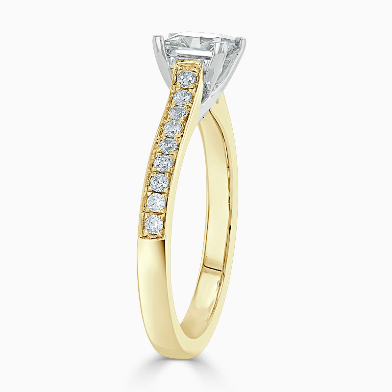 18ct Yellow Gold Princess Cut Openset Pavé Engagement Ring