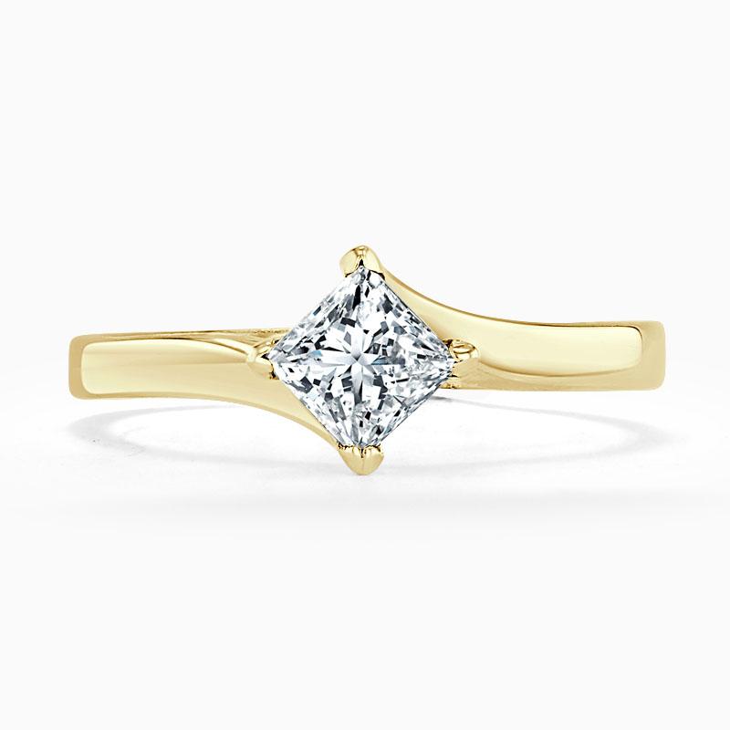 18ct Yellow Gold Princess Cut Twist Engagement Ring