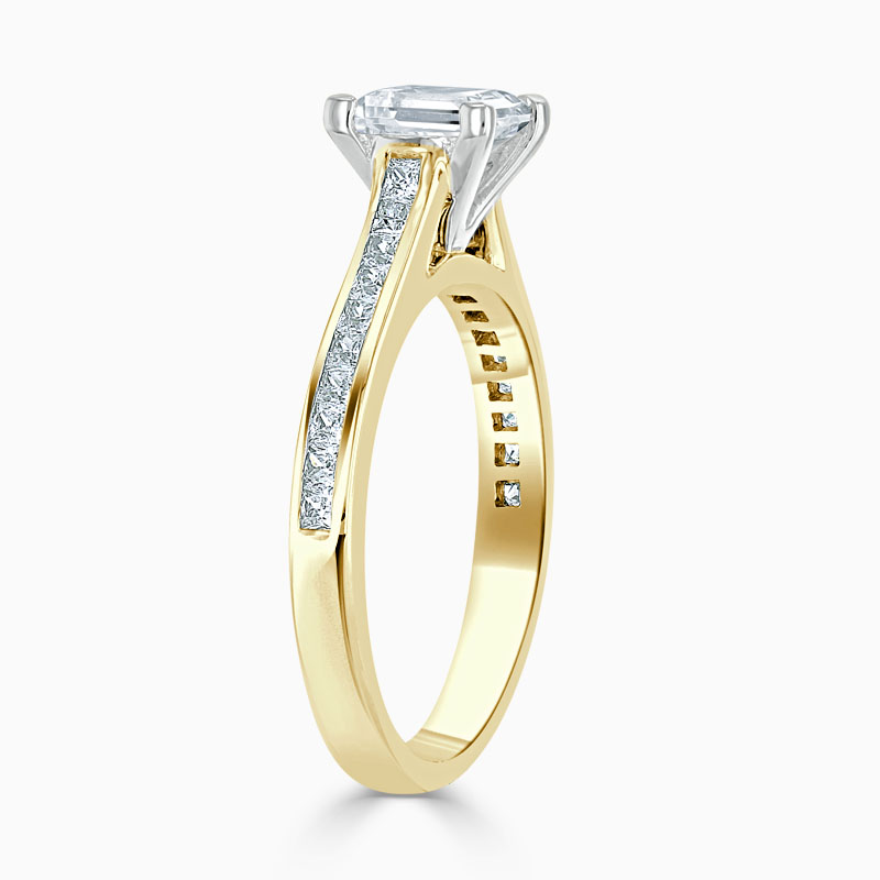 18ct Yellow Gold Princess Cut Princess with Princess Shoulders Engagement Ring