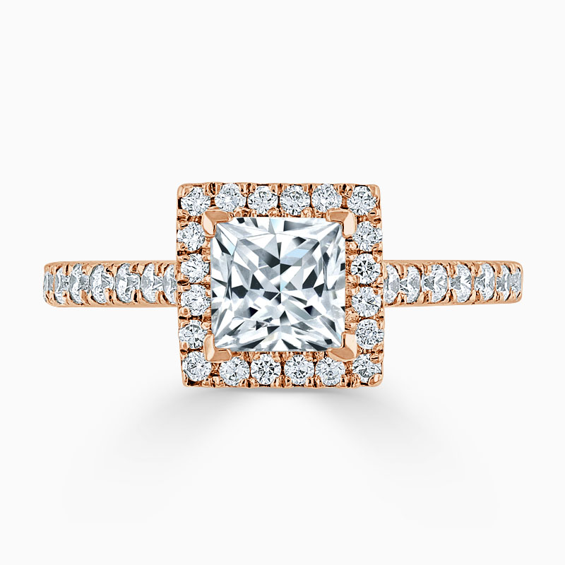 18ct Rose Gold Princess Cut Classic Wedfit Halo Engagement Ring