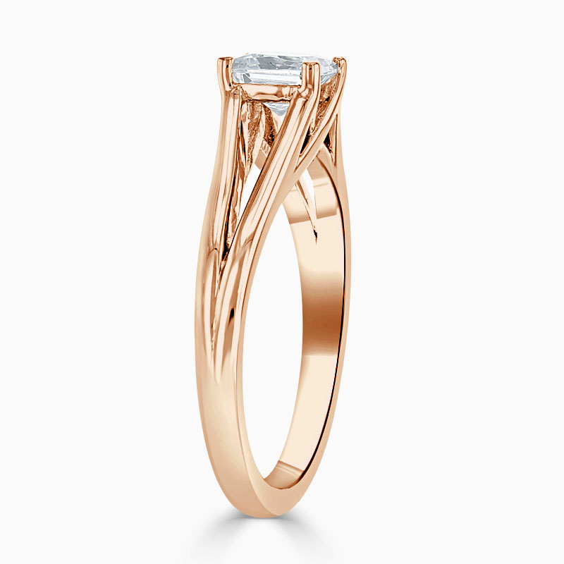 18ct Rose Gold Princess Cut Split Shoulder Engagement Ring