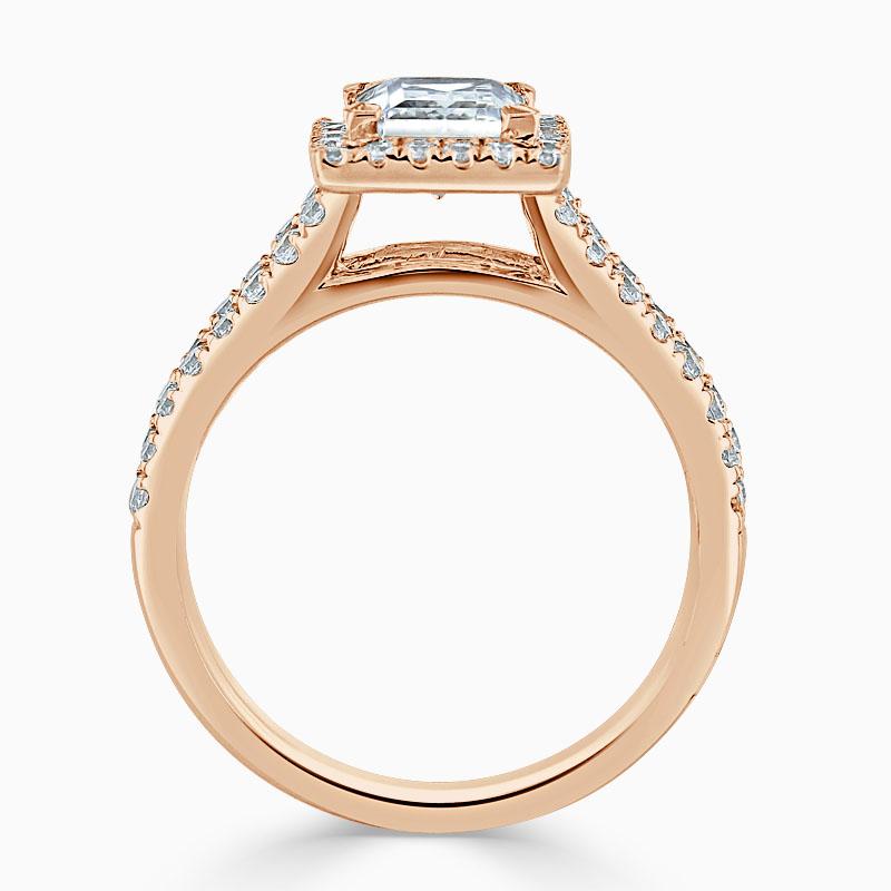 18ct Rose Gold Princess Cut Split Shoulder Halo Engagement Ring