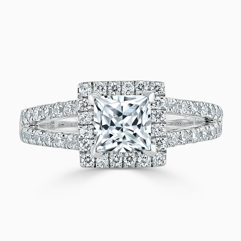 18ct White Gold Princess Cut Split Shoulder Halo Engagement Ring
