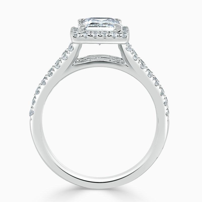 18ct White Gold Princess Cut Split Shoulder Halo Engagement Ring