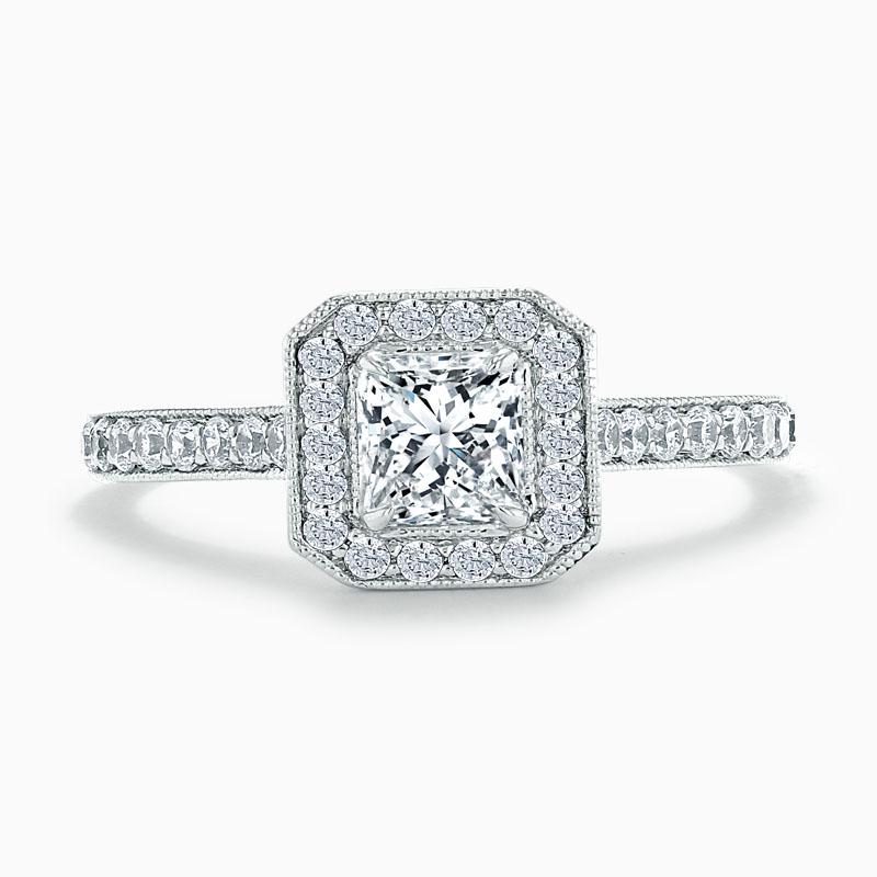 18ct White Gold Princess Cut Vintage Pavé Halo Engagement Ring