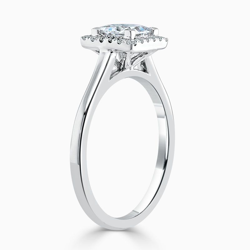 Platinum Princess Cut Classic Plain Halo Engagement Ring