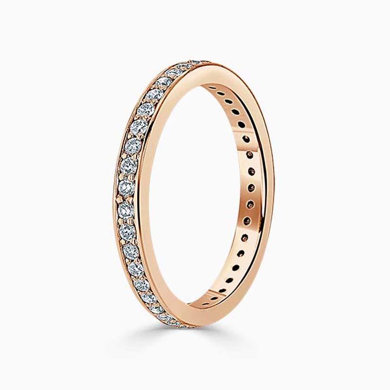 18ct Rose Gold 2.25mm Round Brilliant Pavé Set Full Eternity Ring