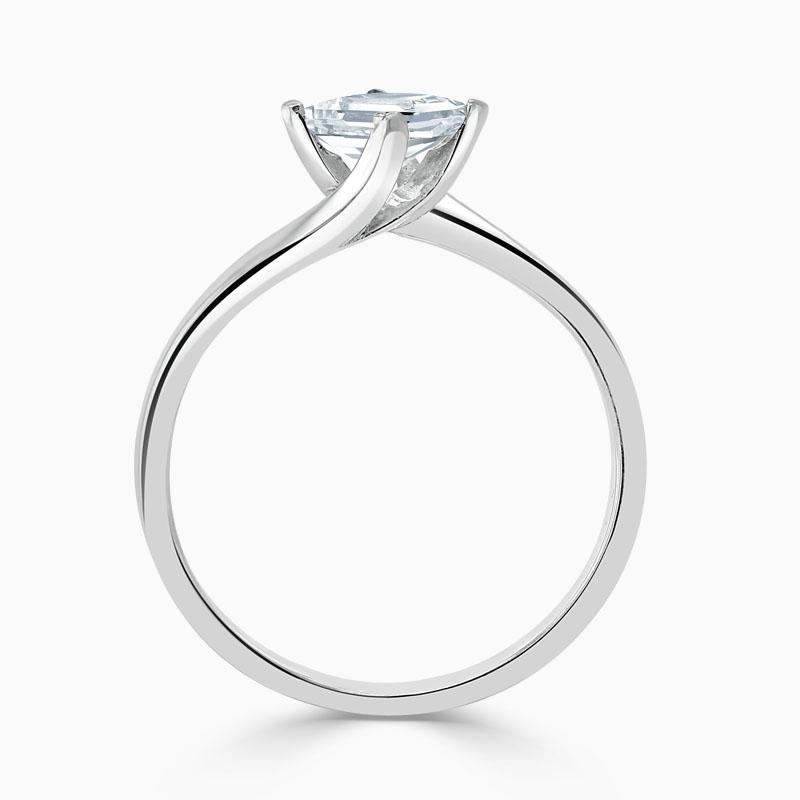 Platinum Princess Cut Twist Engagement Ring