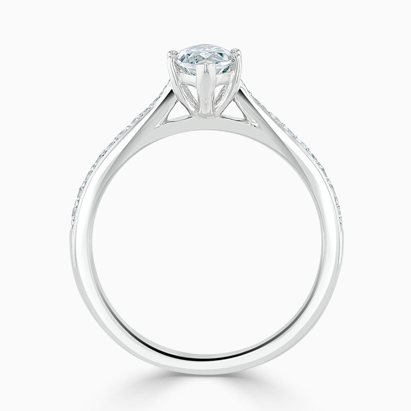 Platinum Marquise Cut Tapered Pavé Engagement Ring