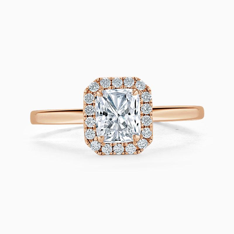18ct Rose Gold Radiant Cut Classic Plain Halo Engagement Ring