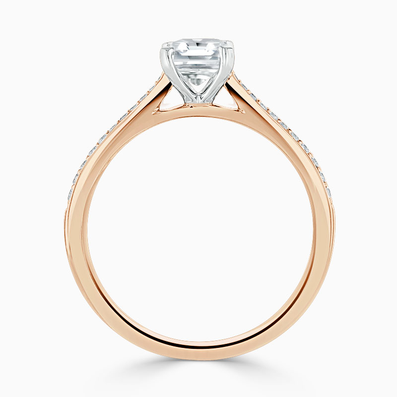 18ct Rose Gold Radiant Cut Tapered Pavé Engagement Ring