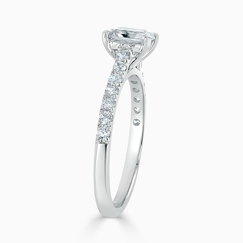 18ct White Gold Radiant Cut Classic Wedfit Cutdown Engagement Ring