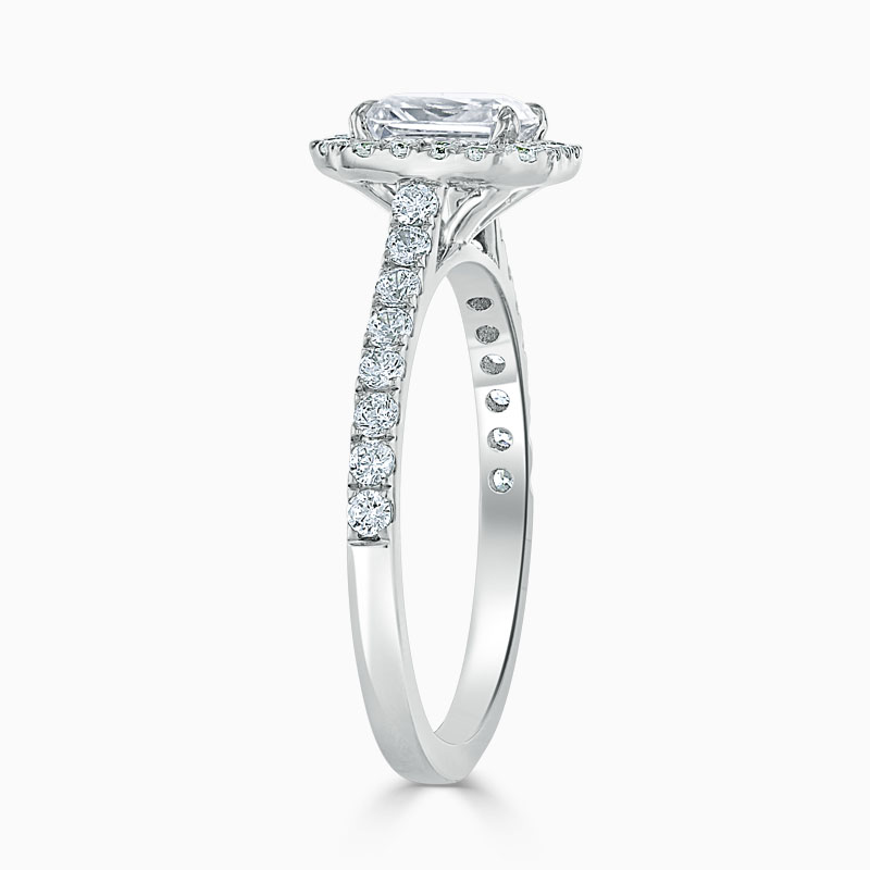 18ct White Gold Radiant Cut Classic Wedfit Halo Engagement Ring