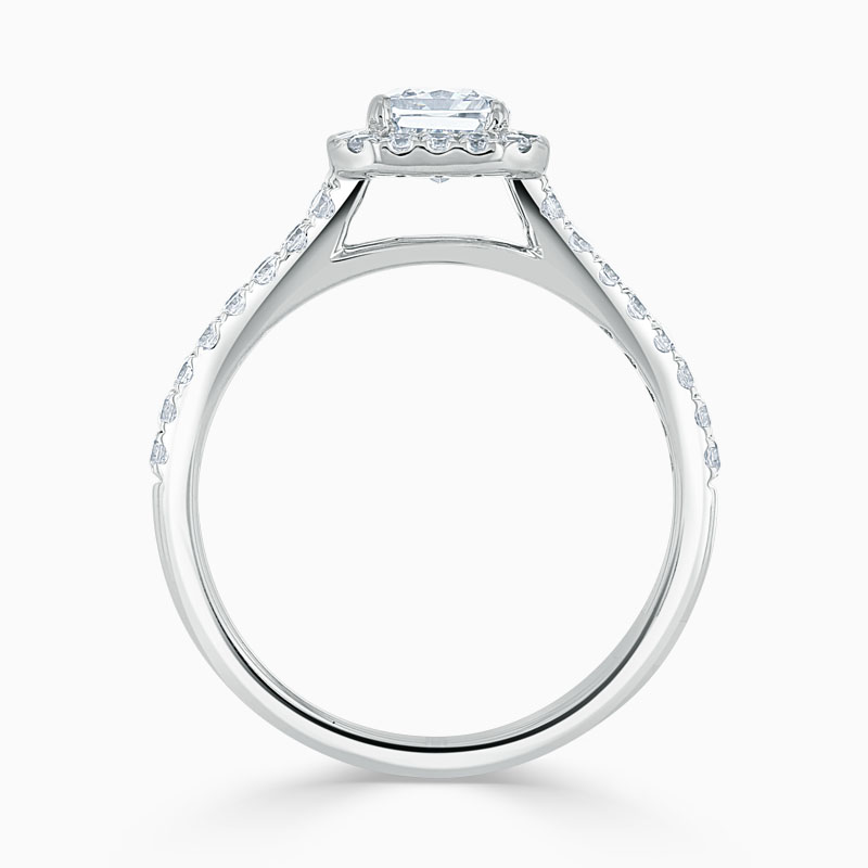 18ct White Gold Radiant Cut Split Shoulder Halo Engagement Ring
