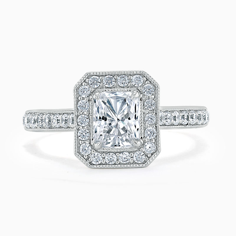 18ct White Gold Radiant Cut Vintage Pavé Halo Engagement Ring