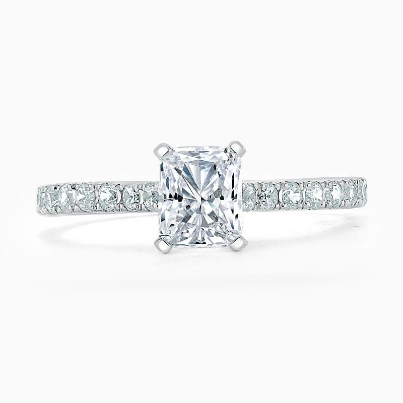 Platinum Radiant Cut Classic Wedfit Cutdown Engagement Ring