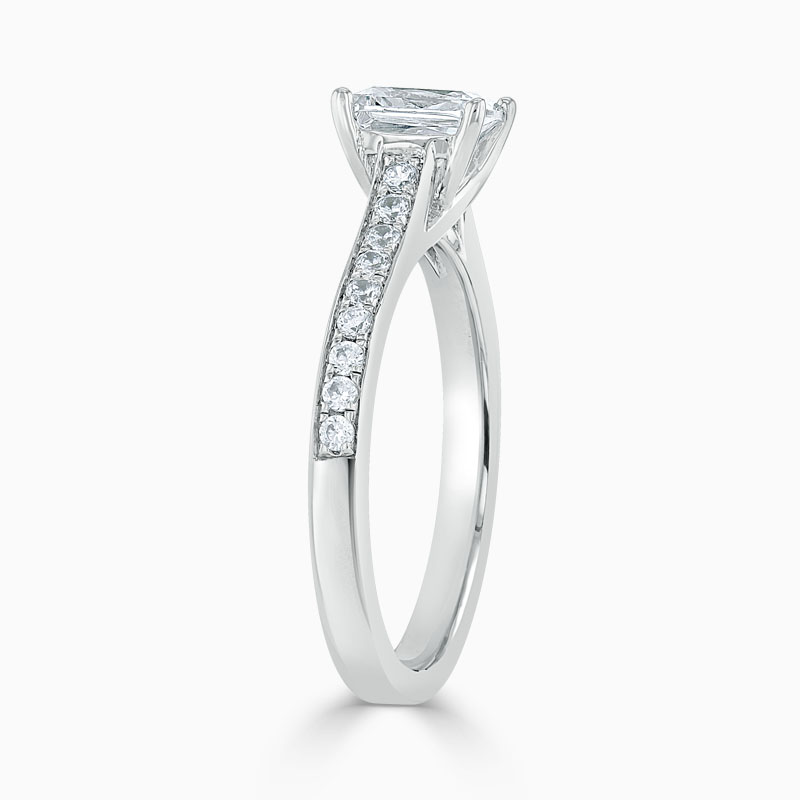 Platinum Radiant Cut Openset Pavé Engagement Ring