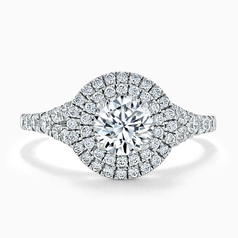 Platinum Round Brilliant Double Halo Split Shoulder Engagement Ring