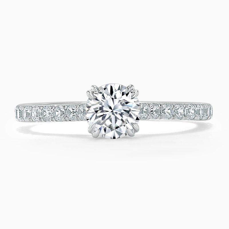 Platinum Round Brilliant Basket Cutdown Engagement Ring