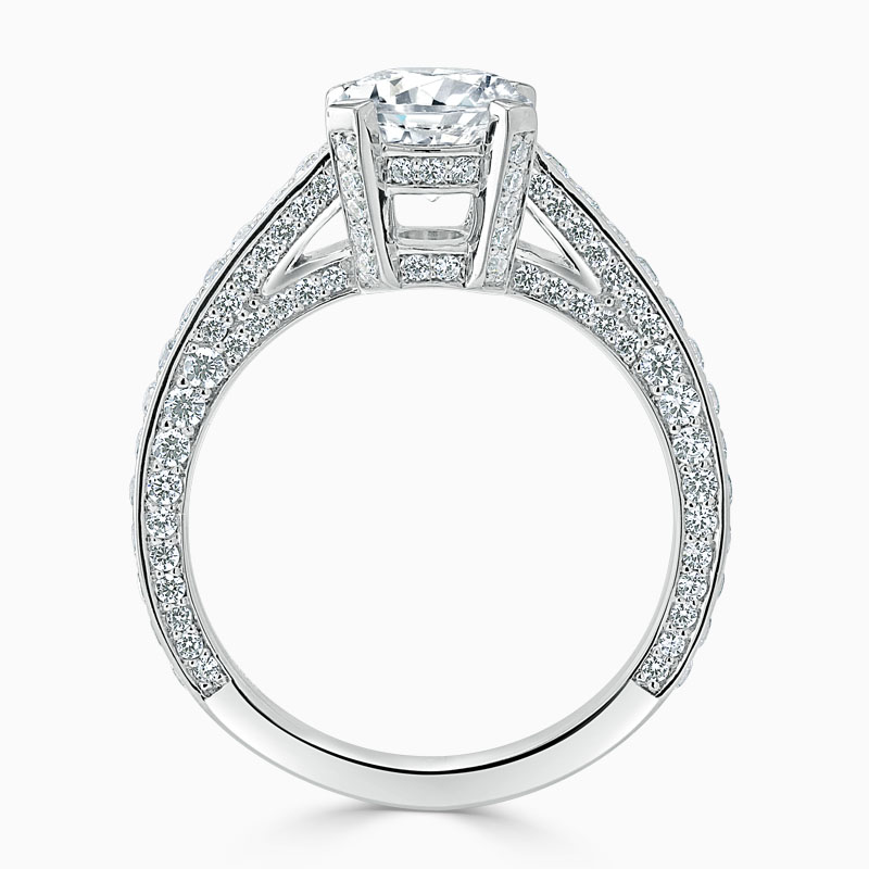 Platinum Round Brilliant Lucent Pavé Set Engagement Ring