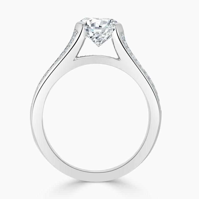 Platinum Round Brilliant Pavé Split Shoulder Engagement Ring