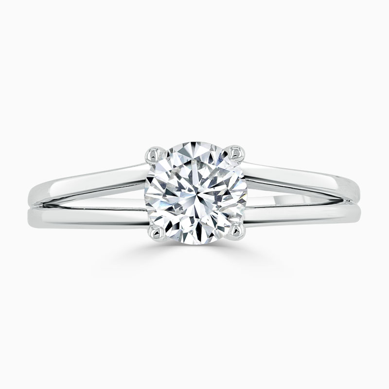 Platinum Round Brilliant Split Shoulder Engagement Ring