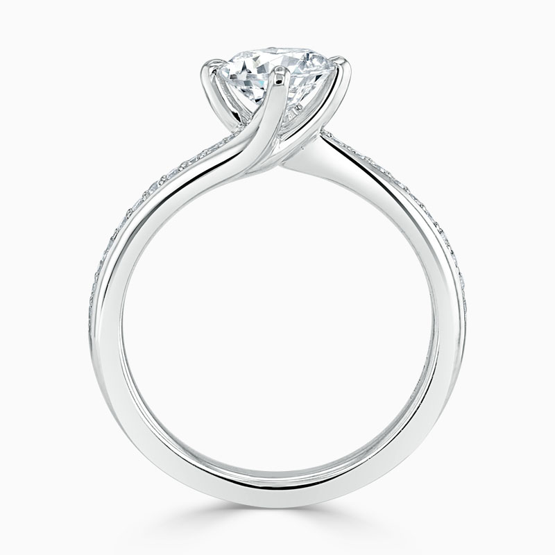 Platinum Round Brilliant Twist Pavé Engagement Ring