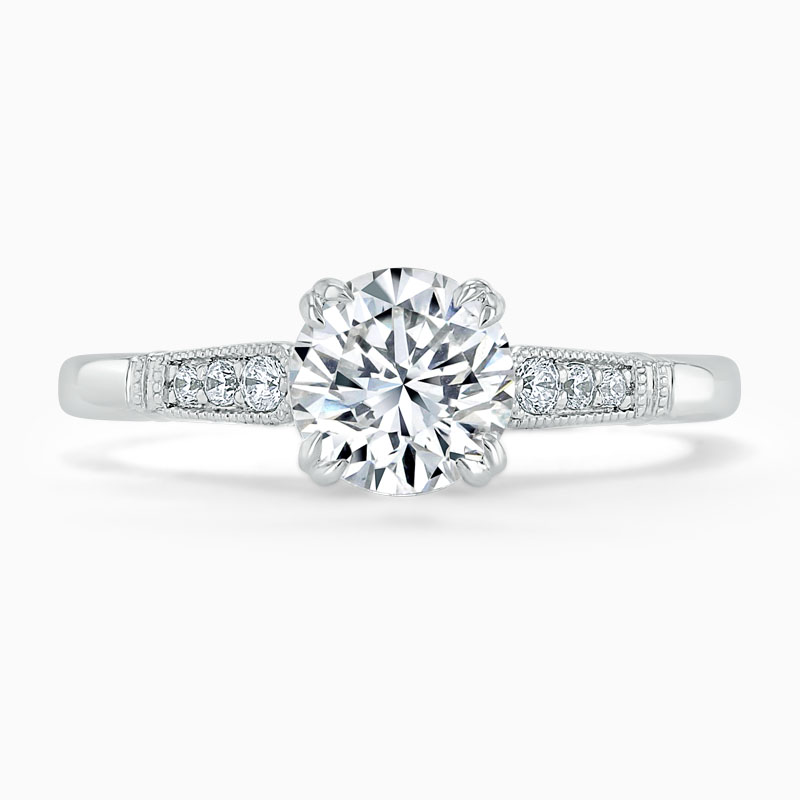 Platinum Round Brilliant Vintage Engagement Ring