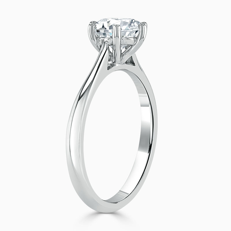 Platinum Round Brilliant Wedfit 6 Claw Engagement Ring
