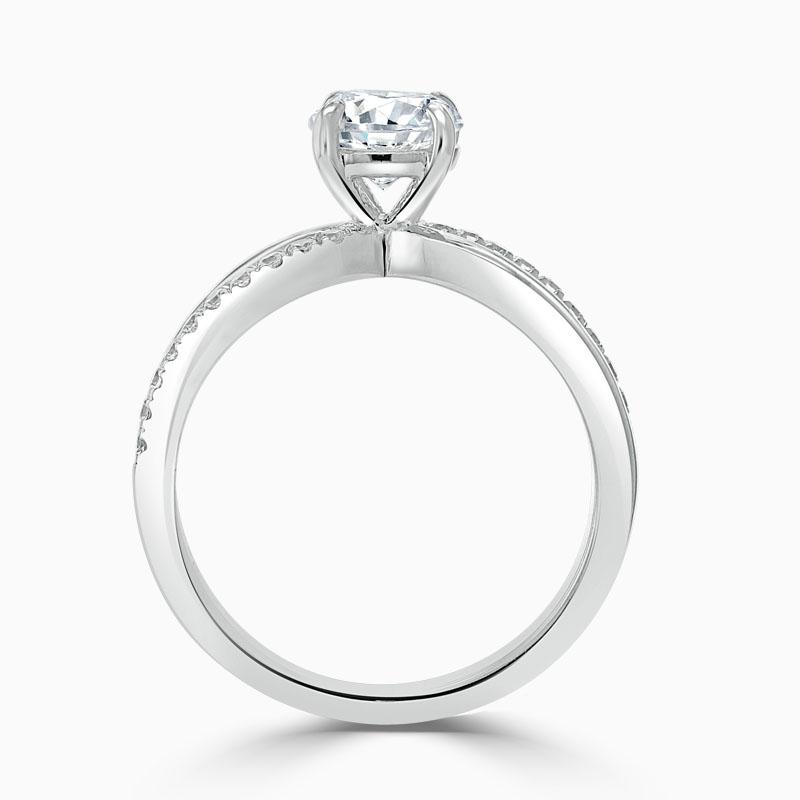 Platinum Round Brilliant Woven Set Engagement Ring