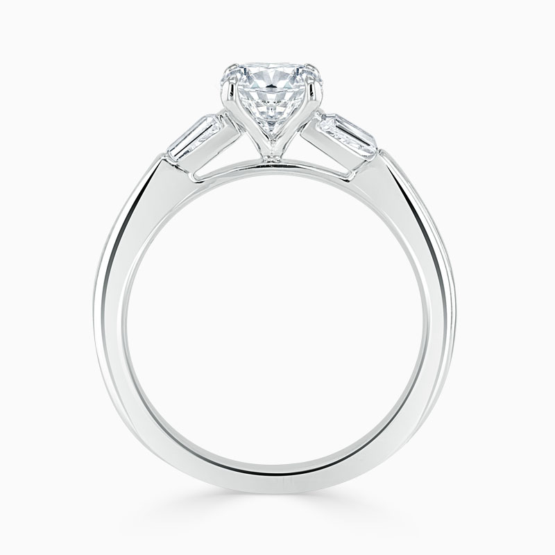 18ct White Gold Round Brilliant 3 Stone with Tapers Engagement Ring