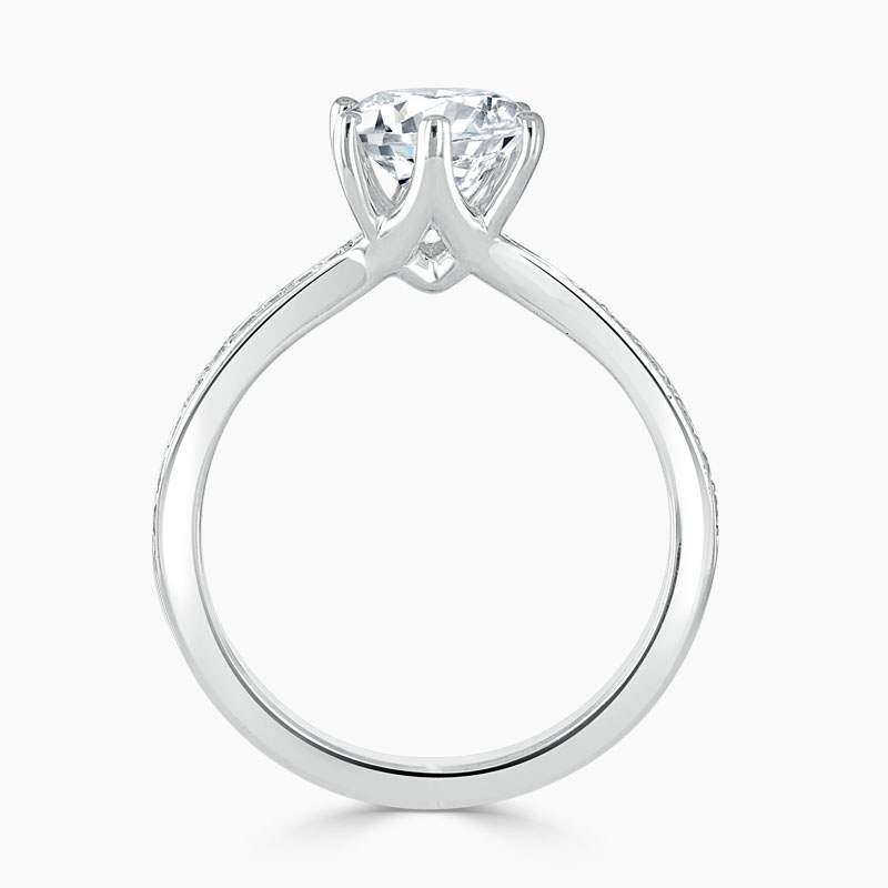 18ct White Gold Round Brilliant 6 Claw Brilliant Pavé Engagement Ring