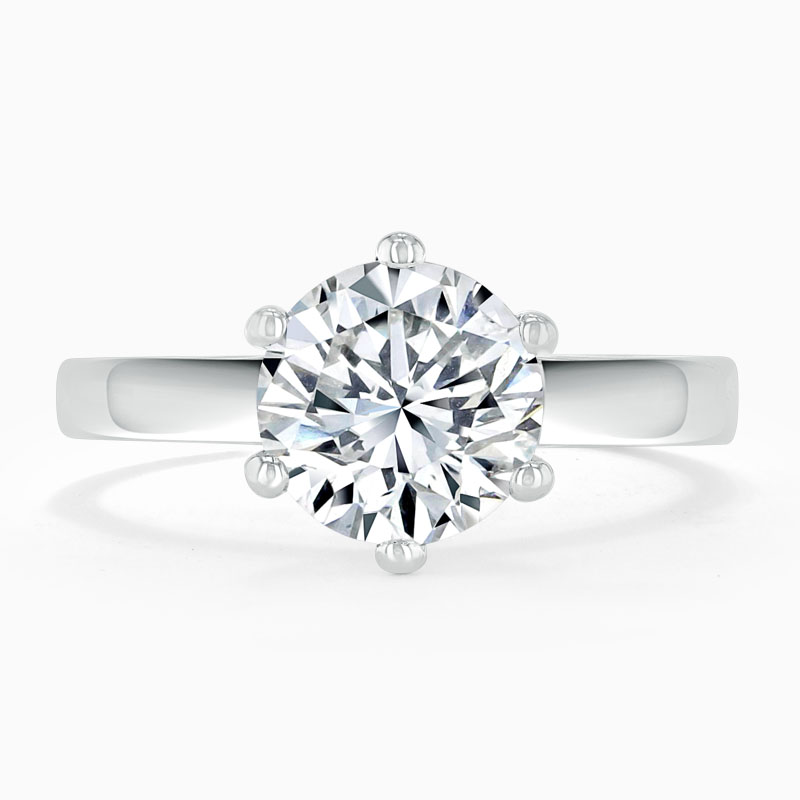 18ct White Gold Round Brilliant Brilliant 6 Claw Engagement Ring